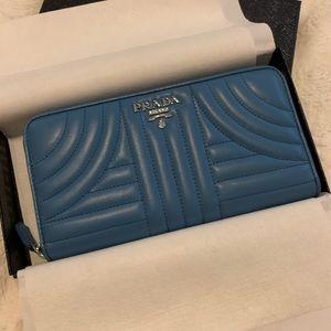Prada Lambskin Diagramme Wallet Blue